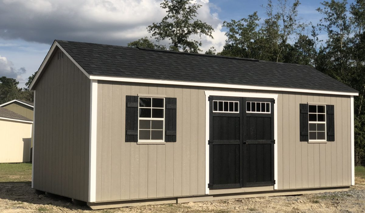 storage shed with engineered wood exterior walls