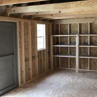 12x24 clay door shed interior in statesboro ga